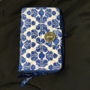 Vera Bradley Turnlock Wallet White and Blue print